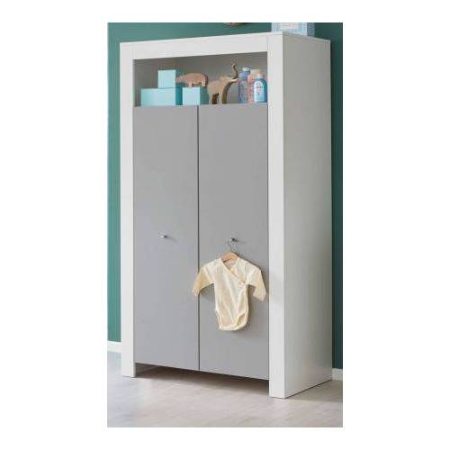 Babyzimmer Kleiderschrank Wilson weiß und grau 94 cm