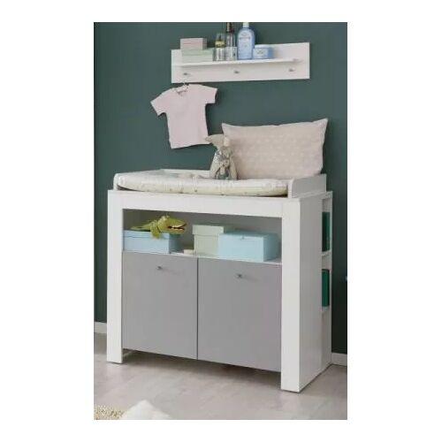 Babyzimmer Wickelkommode Wilson weiß und grau 96 cm