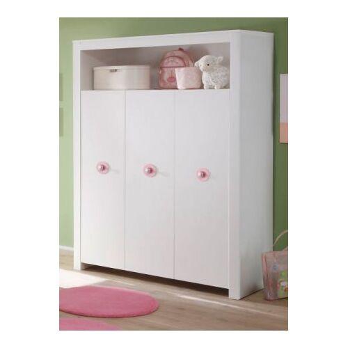 Babyzimmer Kleiderschrank Olivia weiß und rosa 130 cm 3-türig