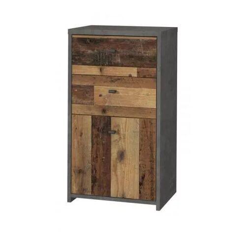 Kommode Best Chest in Used Wood Shabby und Beton grau 40 cm