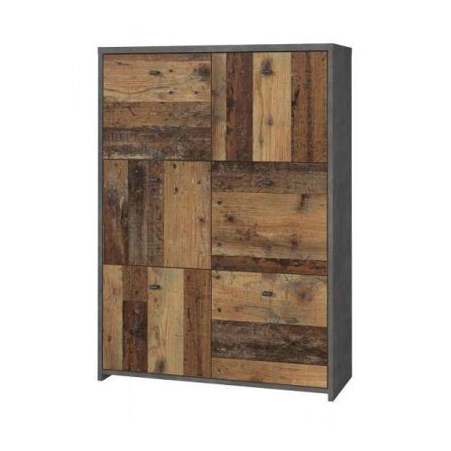 Kommode Best Chest in Used Wood Shabby und Beton grau 77 cm