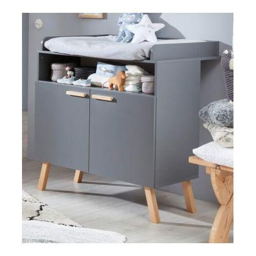 Babyzimmer Wickelkommode Mats grau matt mit Buche massiv 96 cm