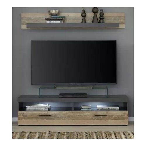 TV-Lowboard und Wandboard Opus Used Wood Shabby hell / grau 139 cm