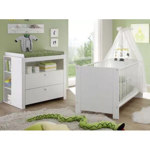 Babyzimmer Set Olivia weiß 4-teilig mit Babybett Wickelkommode und Regalen