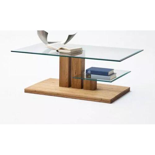 Couchtisch Asteiche und Glas 110 cm