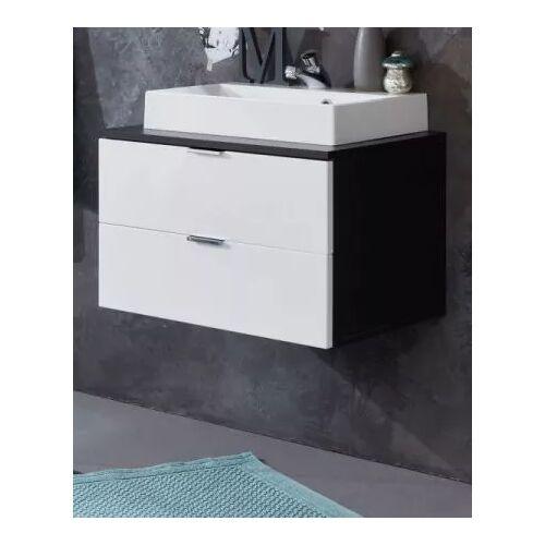 Waschtisch Concept1 in Hochglanz weiß und grau mit Waschbecken
