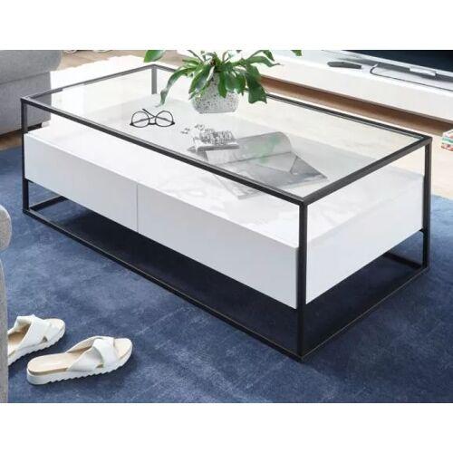 Couchtisch Evora in weiß mit Metallgestell und Glas 120 x 60 cm
