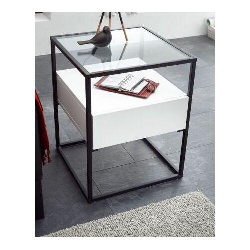 Couchtisch Evora in weiß mit Metallgestell und Glas 43 x 43 cm