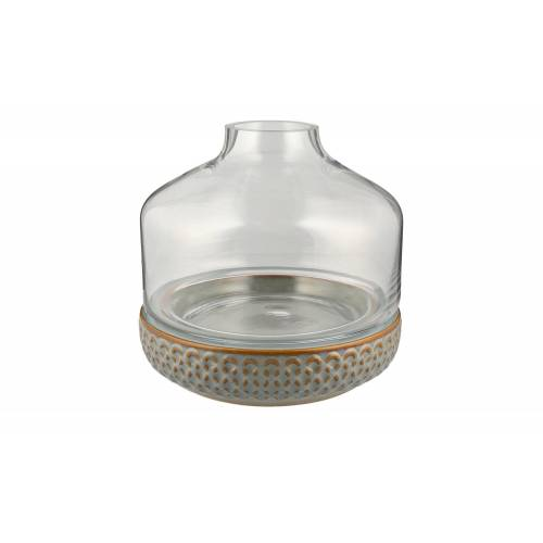 Möbel Kraft Vase mit Steinboden - grau - Steingut, Glas - Dekoration  Vasen - Möbel Kraft