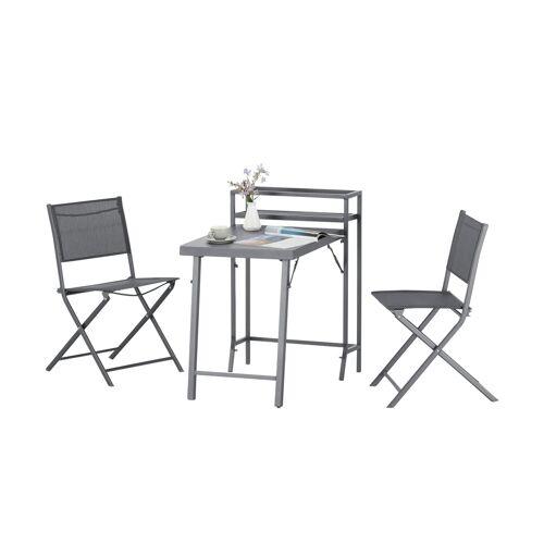 Möbel Kraft Balkon-Gruppe - grau - Stahl pulverbeschichtet - Garten  Balkonmöbel  Balkonmöbel Sets - Möbel Kraft