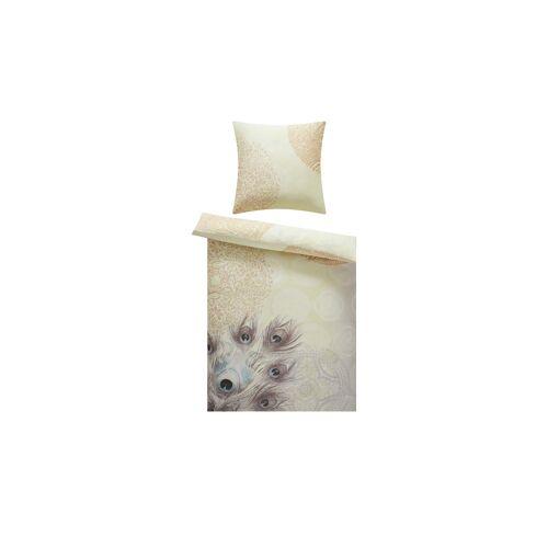 Möbel Kraft Satin Bettwäsche  Pfauenfeder - gelb - 100% Baumwolle - 135 cm - Bettwaren  Bettwäsche-Sets  weitere Bettwäschesets - Möbel Kraft
