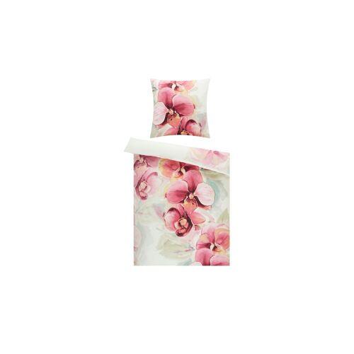 Möbel Kraft Satin Bettwäsche  Orchideen - weiß - 100% Baumwolle - 135 cm - Bettwaren  Bettwäsche-Sets  weitere Bettwäschesets - Möbel Kraft