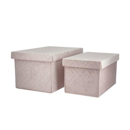 Möbel Kraft Aufbewahrungsboxen, 2er Set - rosa/pink - Samt, Pappe - Aufbewahrung  Aufbewahrungsboxen - Möbel Kraft