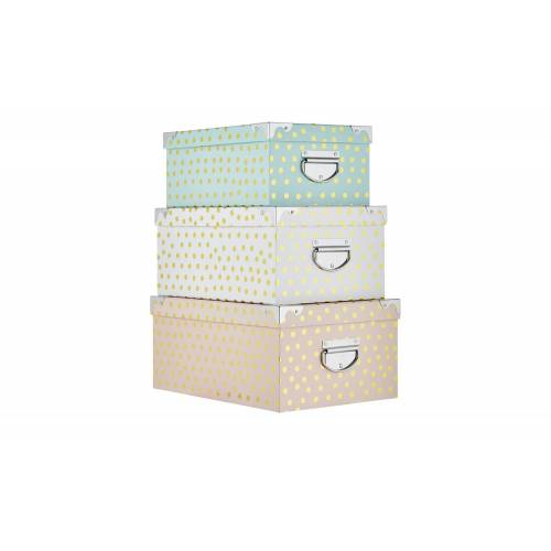 Möbel Kraft Aufbewahrungsbox, 3er-Set - mehrfarbig - Pappe, Metall, Papier - Aufbewahrung  Aufbewahrungsboxen - Möbel Kraft