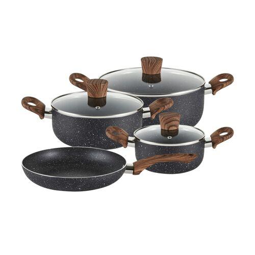 Stolze Topfset, 7-teilig  Stone Wood Black - schwarz - Aluminium - Töpfe & Pfannen & Zubehör  Topf und Pfannen-Sets - Möbel Kraft
