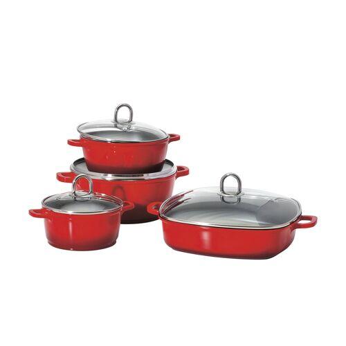KHG Topfset, 4-teilig  Verona - rot - Aluminium-Guss - Töpfe & Pfannen & Zubehör  Topf und Pfannen-Sets - Möbel Kraft