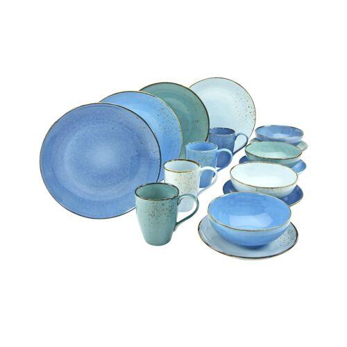 Peill+Putzler Kombiservice, 16-teilig  Amalfi - blau - Steinzeug - Geschirr  Geschirrsets  Kombiservice - Möbel Kraft