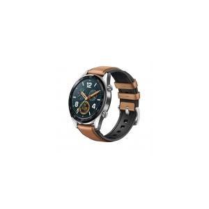 Huawei Watch GT [inkl. Lederarmband braun] 46,5mm Edelstahlgehäuse silber