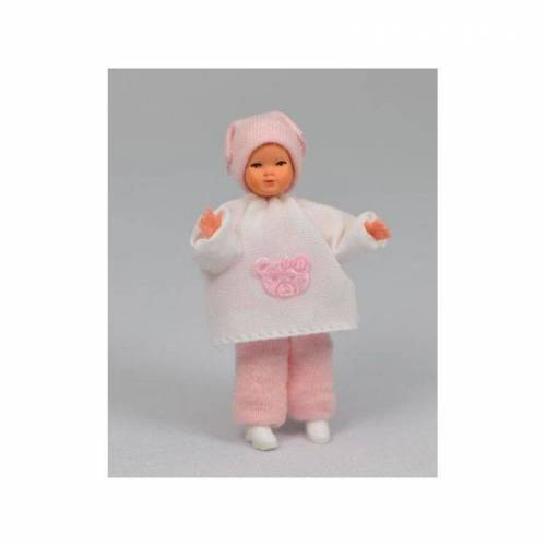 """Caco 08024600 Puppe """"Baby mit Kopftuch"""" 5,5 cm Biegepuppe 1:12 Puppenhaus"""