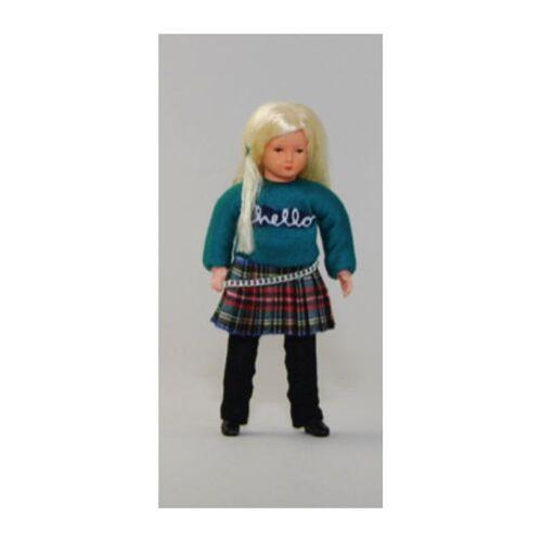 """Caco 3005600 Puppe """"modernes Mädchen"""" Rock Biegepuppe 1:12 für Puppenhaus"""