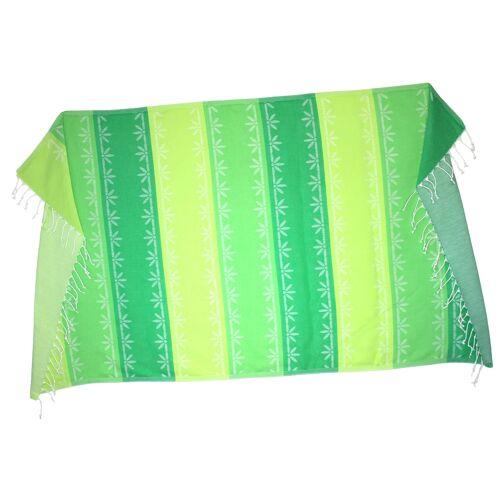 Kleidermann Hamamtuch Pestemal Tuch 100x170 cm grün-weiß gemustert mit Fransen