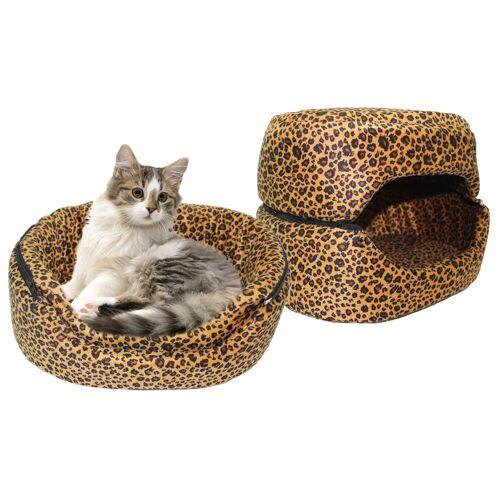 Premiumshop321 Empress Cat 3in1 Katzenhöhle Katzenbett Leopard Luxusbett 35x45 cm