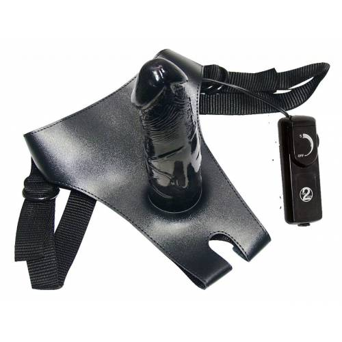 Schwarzer Strapon mit Vibration
