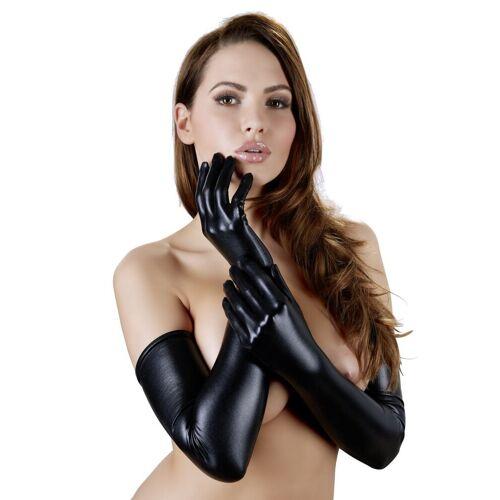 Schwarze, extra lange Handschuhe aus Wetlook