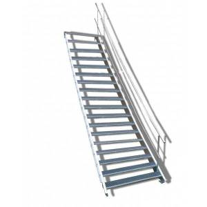 18stufige Stahltreppe BasicLine mit einseitigem Geländer Breite 80 cm Wangentreppe mit 18 Stufen