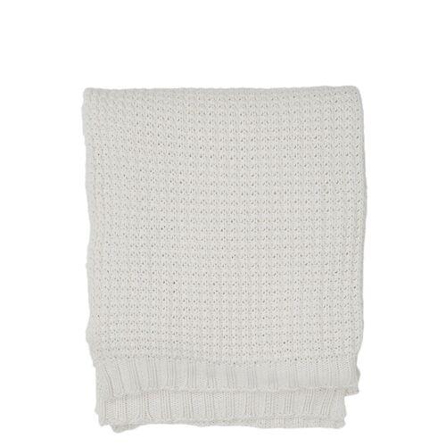 LEXINGTON HOME Knitted Cotton Throw Decke Creme LEXINGTON HOME Creme 130X170
