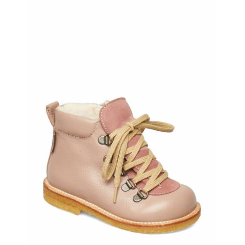 ANGULUS Boots - Flat - With Lace And Zip Stiefel Halbstiefel Pink ANGULUS Pink 23.0,22.0