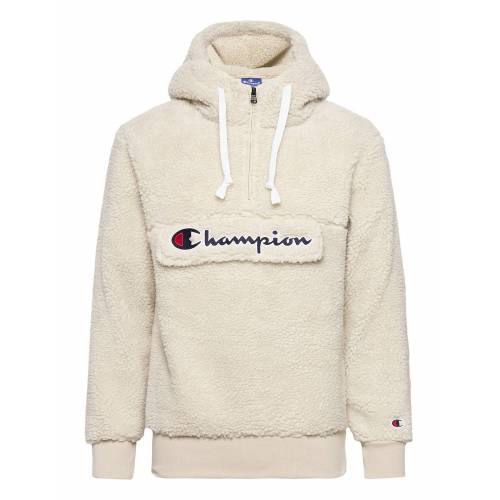 Champion Hooded Half Zip Top Sweat-shirts & Hoodies Fleeces & Midlayers Creme CHAMPION Creme M