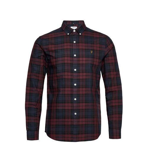 Farah Brewer Check Long Sleeve Slim Fit Shirt Hemd Casual Rot FARAH Rot S