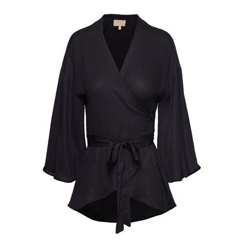 BY TI MO Vintage Drape Kimono Top Bluse Langärmlig Schwarz BY TI MO Schwarz