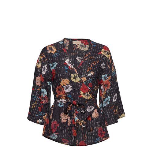 BY TI MO Vintage Drape Kimono Top Bluse Langärmlig Schwarz BY TI MO Schwarz S