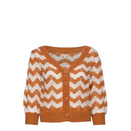 BY TI MO Mohair Short Sleeved Cardigan Cardigan Strickpullover Braun BY TI MO Braun S,M,XL,XS,L