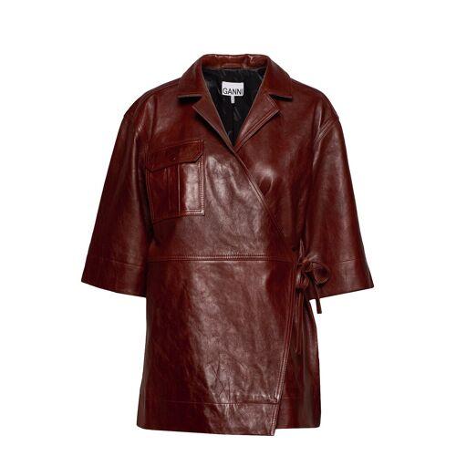 Ganni Lamb Leather Ledermantel Mantel Braun GANNI Braun XXS/XS,S/M