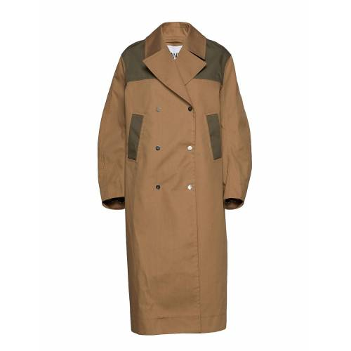 Ganni Double Cotton Trenchcoat Mantel Beige GANNI Beige XXS/XS,S/M,L/XL