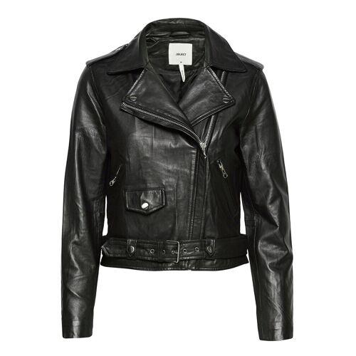 Object Objnandita Leather Jacket Lederjacke Schwarz OBJECT Schwarz 42,34,40,38,36