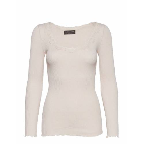 Rosemunde Silk T-Shirt Regular Ls W/Rev Vinta Langärmliges T-Shirt Creme ROSEMUNDE Creme S,L