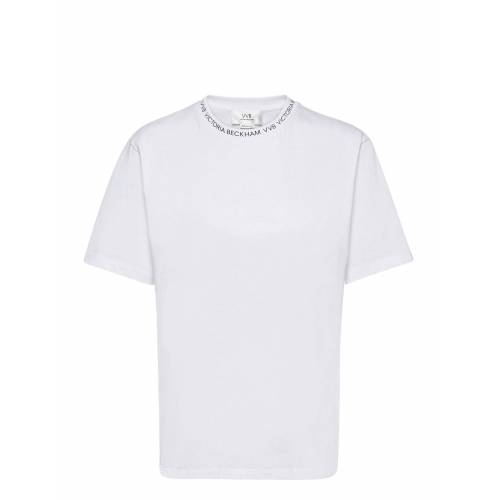 VICTORIA VICTORIA BECKHAM Logo Rib T-Shirt T-Shirt Top Weiß VICTORIA VICTORIA BECKHAM Weiß S,M,XS,L