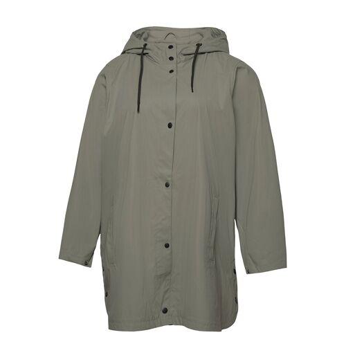 Zizzi Rain Coat Hood Plus Pockets Buttons Regenkleidung Grün ZIZZI Grün 46-48,50-52,42-44,54-56
