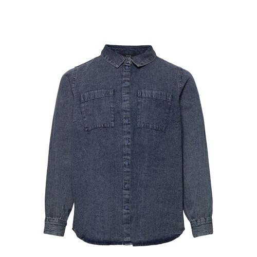 Zizzi Shirt Denim Plus Buttons Collar Langärmliges Hemd Blau ZIZZI Blau 50-52,46-48,42-44,54-56