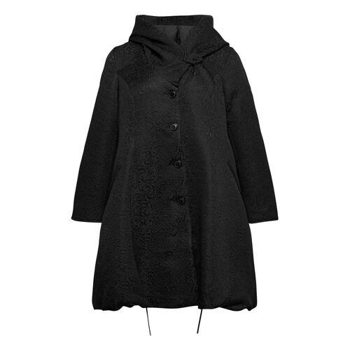 Zizzi Jacket Button Up Plus Hooded Dünner Mantel Schwarz ZIZZI Schwarz 54-56