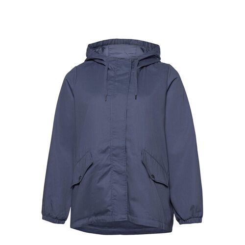 Zizzi Jacket Hood Plus Pockets Zip Buttons Parka Jacke Mantel Blau ZIZZI Blau 50-52,46-48,42-44,54-56