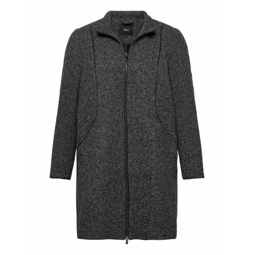 Zizzi Jacket Texture Plus Zip Melange Wollmantel Mantel Grau ZIZZI Grau 46-48,54-56,50-52,42-44