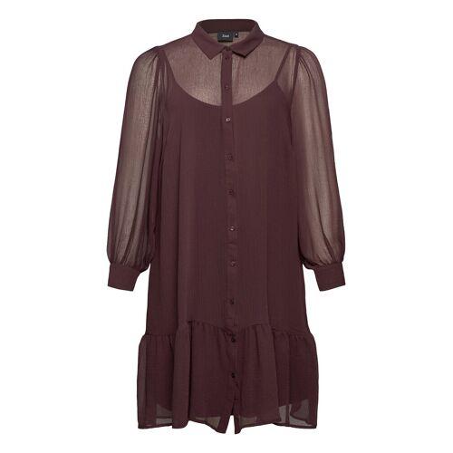 Zizzi Dress Buttons Plus Collar Long Sleeves Kurzes Kleid Rot ZIZZI Rot 46-48,50-52,54-56,42-44
