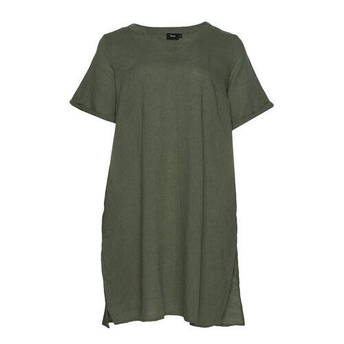 Zizzi Dress Short Sleeves Plus V Neck Kleid Knielang Grün ZIZZI Grün