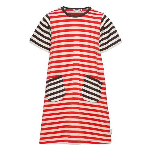 Marimekko Ahde Tasaraita Dress Kleid Rot MARIMEKKO Rot 104/110,116/122,128/134,92/98
