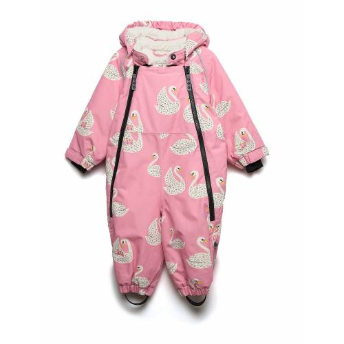 SMÅFOLK Snowsuit, 2 Zipper. Swan Outerwear Snow/ski Clothing Snow/ski Suits & Sets Pink SMÅFOLK Pink 80-92